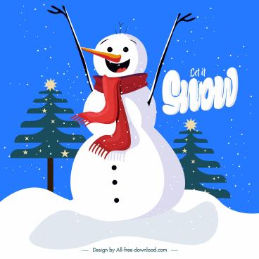 christmas background cute stylized snowman sketch
