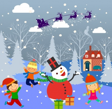 christmas background design children and snowman decoration