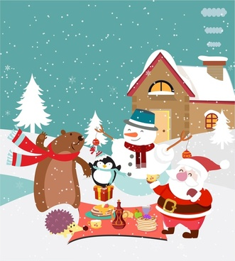 christmas background design with cute animals and santa