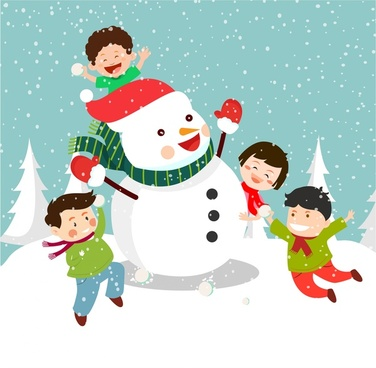 christmas background design with joyful kids and snowman