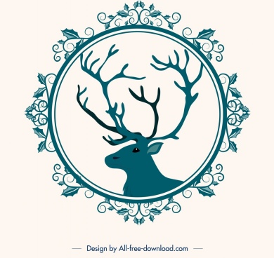 christmas background flower frame reindeer head icons decor