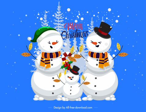 christmas background funny snowman family sketch
