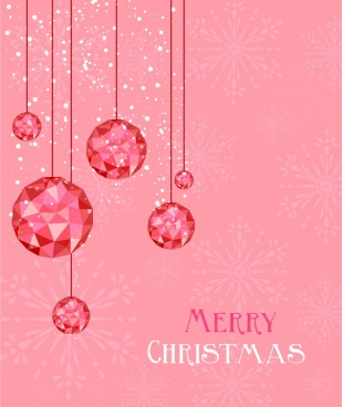 christmas background hanging gem decor pink design