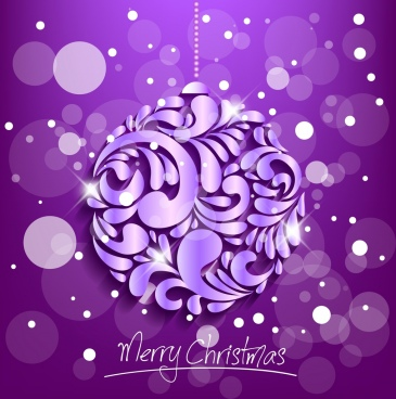 christmas background hanging object shiny bokeh purple decor