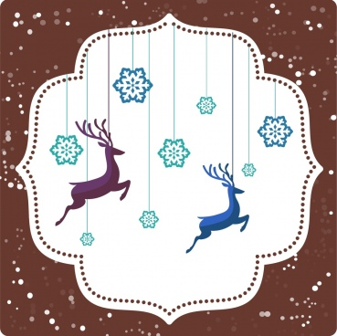 christmas background hanging snowflakes and reindeers decoration