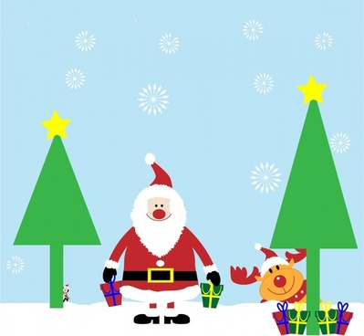 christmas background illustration with santa and deer