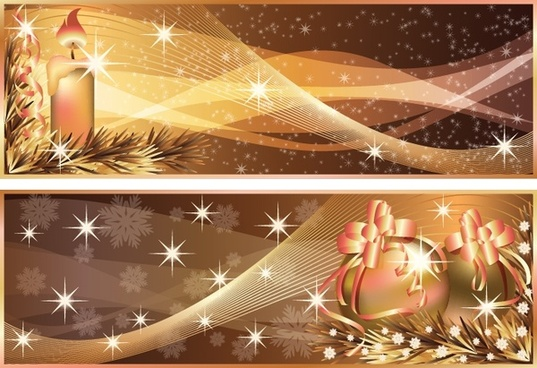 christmas banner templates twinkling golden curves candles baubles