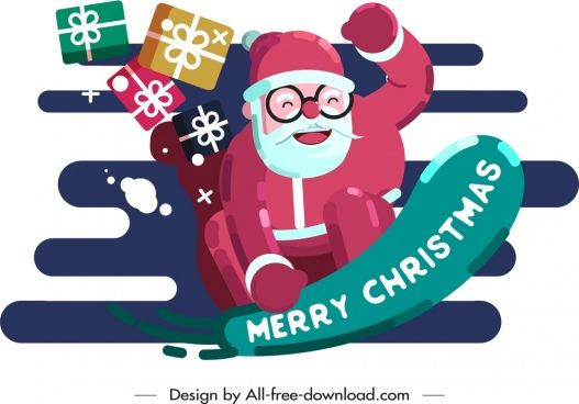 christmas background joyful santa claus gifts icons