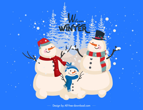 christmas background joyful snowman family sketch