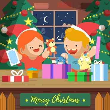 christmas background playful children toys gifts cartoon design