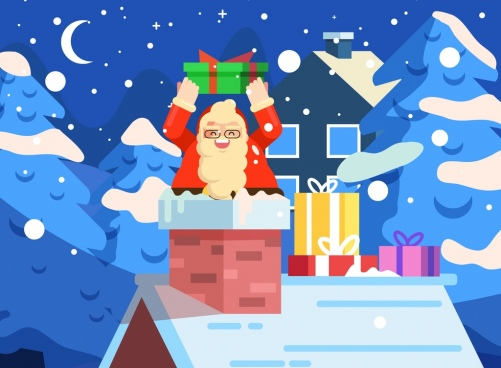 christmas background santa chimney icons cartoon design