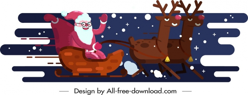 christmas background sleighing santa claus reindeers icons