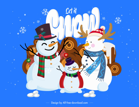 christmas background snowman family sketch cute cartoon design
