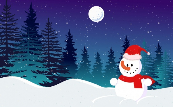 christmas background snowman moonlight snowy landscape decor