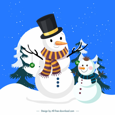 christmas background template cute snowman snowy scene sketch