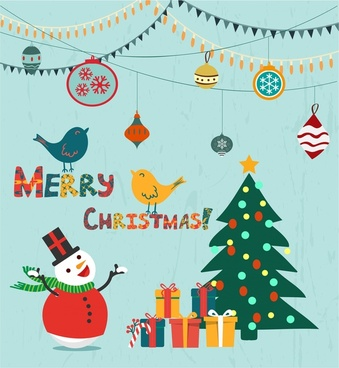 christmas background template symbols elements collection