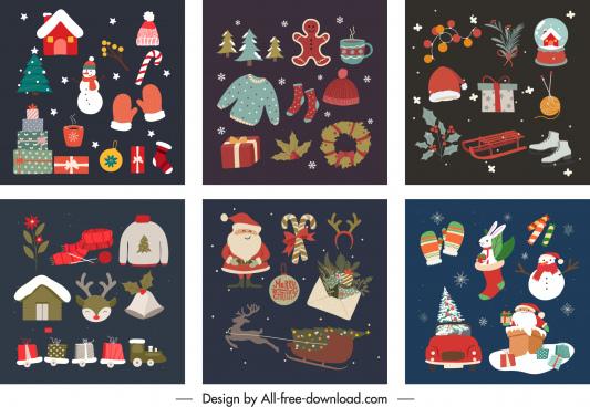 christmas background templates classical symbols elements decor