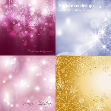 christmas background templates sparkling vivid bokeh decor