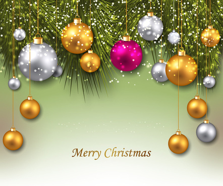 christmas background with colorful balls and fir twigs