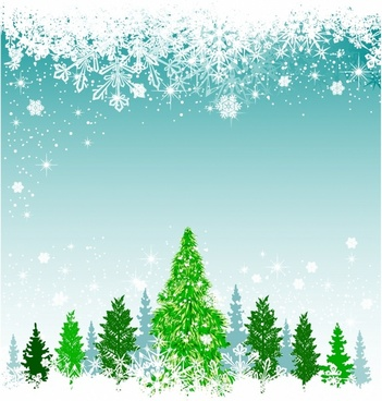 Christmas background with green tree