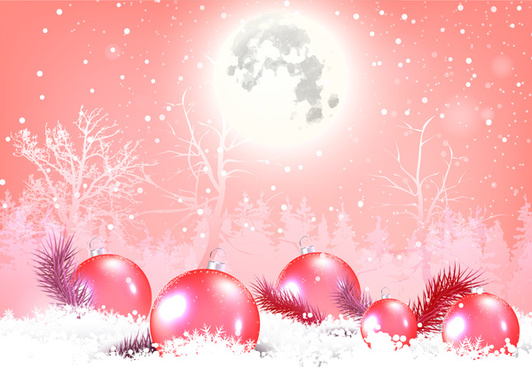 christmas background with shiny moon and baubles