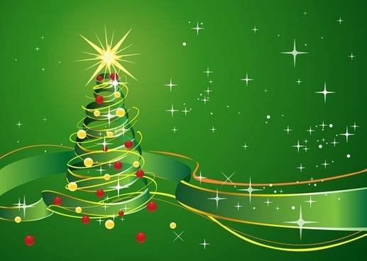 Christmas Background with star and green ribbon