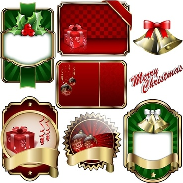 christmas badge shield vector label