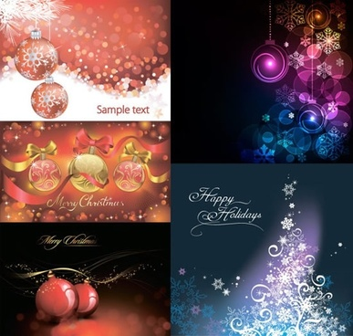 christmas background templates elegant sparkling bauble fir tree