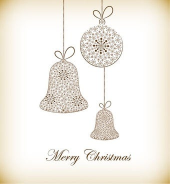 christmas ball and bell made from snowflakes vector illustration