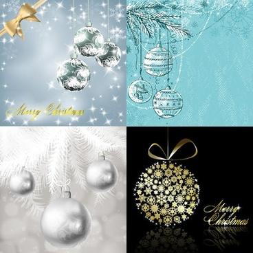 xmas background templates elegant twinkling baubles balls decor