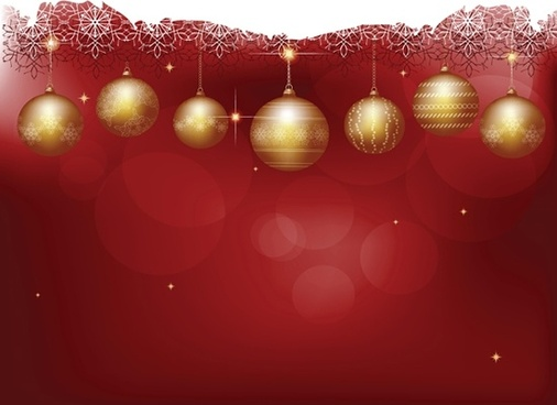 christmas background shiny golden baubles bokeh decor