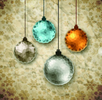christmas ball crumpled paper background vector