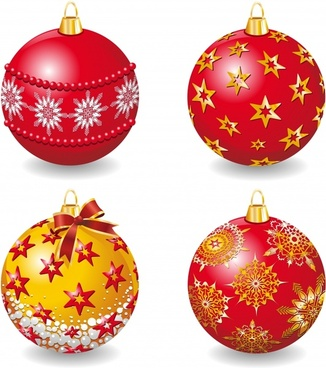xmas bauble ball icons shiny colorful 3d design