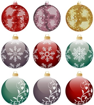 christmas bauble balls icons shiny colorful sparkling decor