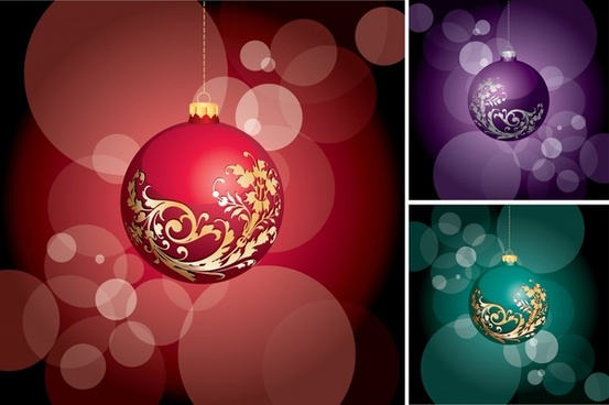 christmas background templates bauble icon bokeh decor