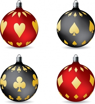 christmas ball templates gambling sign elements decor