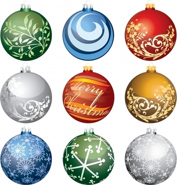 christmas ball templates shiny colorful elegant decor