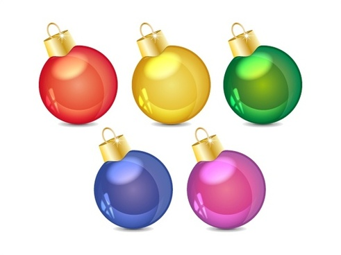 christmas bauble balls vector illustrations with colorful style