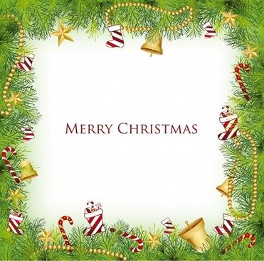 christmas balls bells pine border element vector