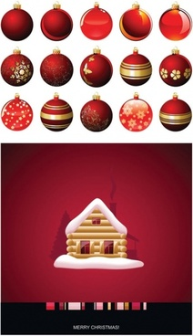 christmas balls hanging with the house vector