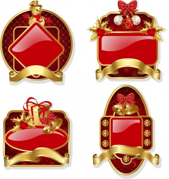 christmas label templates shiny 3d red golden baubles