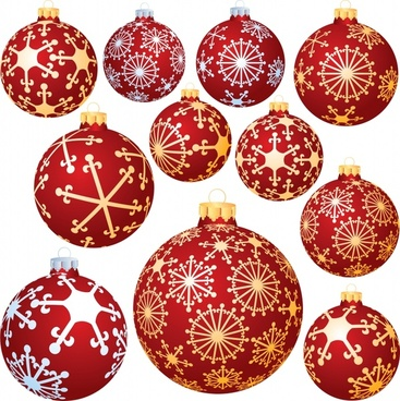 christmas ball icons templates classical elegant round shapes