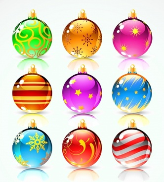 christmas ball icons shiny colorful modern decor
