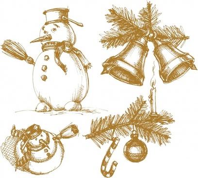 christmas balls vector christmas snowman