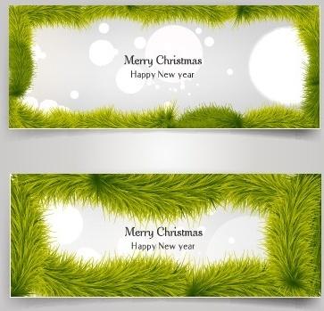 christmas banner and grass frame vector