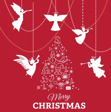 christmas banner angle silhouette baubles fir tree decor