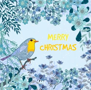 christmas banner bird flowers snowfall decor classical design