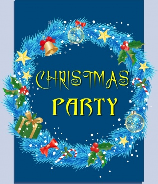 christmas banner blue wreath design colorful baubles decoration