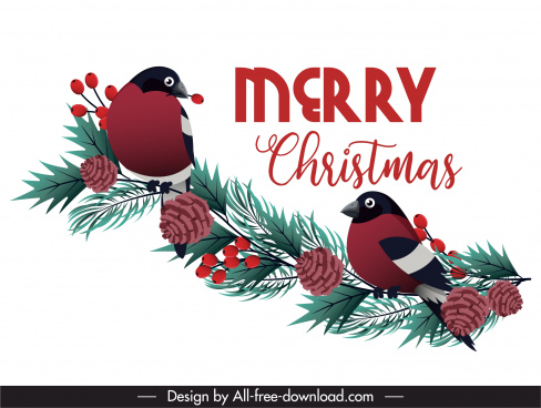 christmas banner bright colored birds pine branch decor