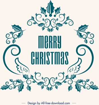 christmas banner classical symmetrical flowers decor